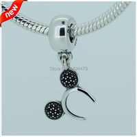 100 925 Sterling Silver Beads MICKEY HEADBAND SILVER DANGLE WITH BLACK CRYSTALfor Women DIY Bead Fits