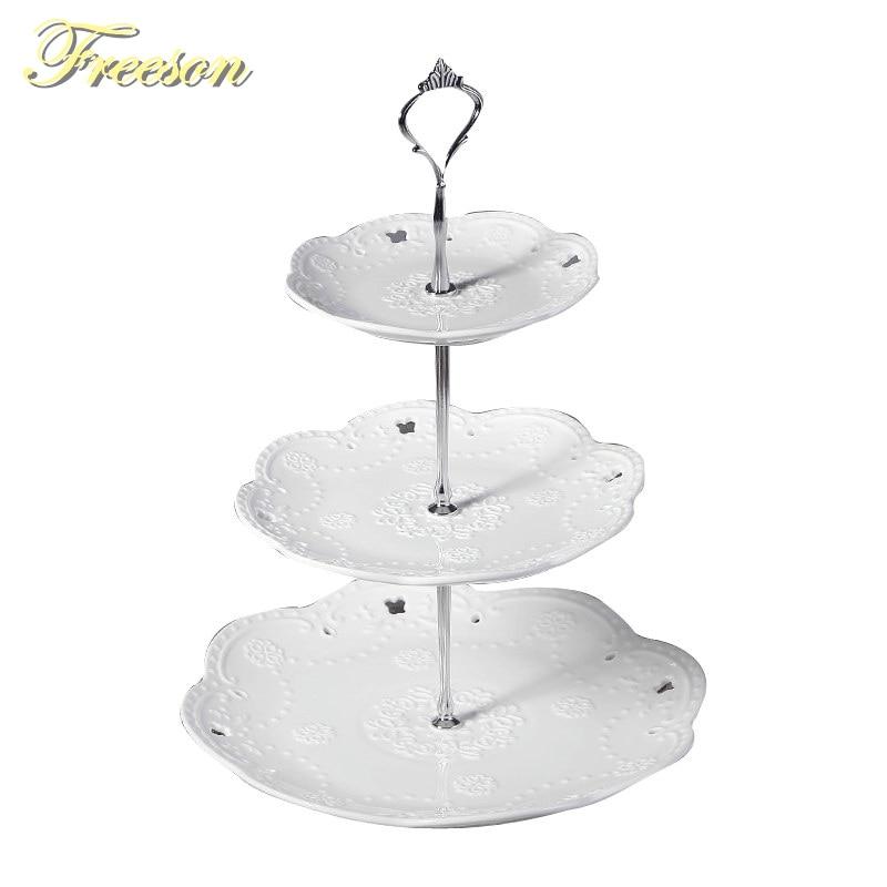 Бели релефни керамични плодови плочи Снек ястия Торта плоча бонбони чиния порцеланови тави