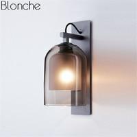 Modern Smoky Glass Wall Lamp Led Wall Sconce Bedroom Bathroom Mirror Lights for Home Loft Industrial Decor Lighting Fixtures E27
