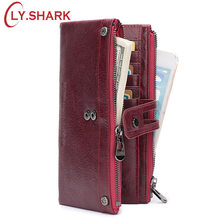 LY.SHARK Red Wallet Female Wallet Women Genuine Leather Women Wallet Long Big Green Purse Two Zippers Coin Purse Women Clutch(China)