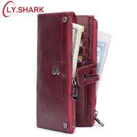 LY.SHARK Red Wallet Female Wallet Women Genuine Leather Women Wallet Long Big Green Purse Two Zippers Coin Purse Women Clutch