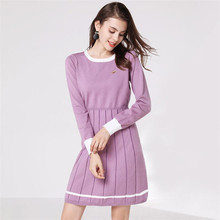 2018 Women Autumn Winter Sweater Knitted Dresses  Elastic Long Sleeve Sexy Lady Bodycon Robe Vestidos