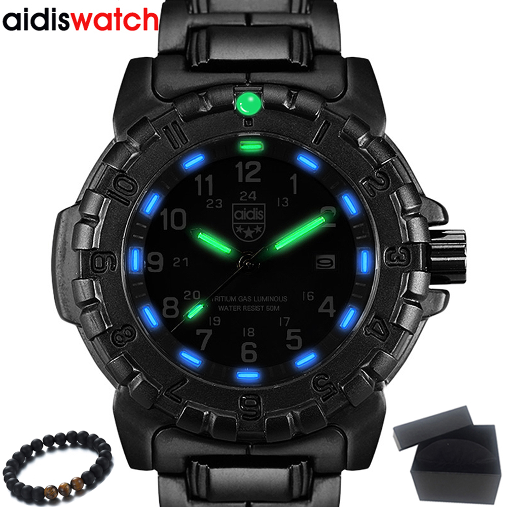 High quality Mens Watches Top Brand AIDIS Waterproof Luminous Sports Military Watches Quartz Watch Men Clock Relogio Masculino image