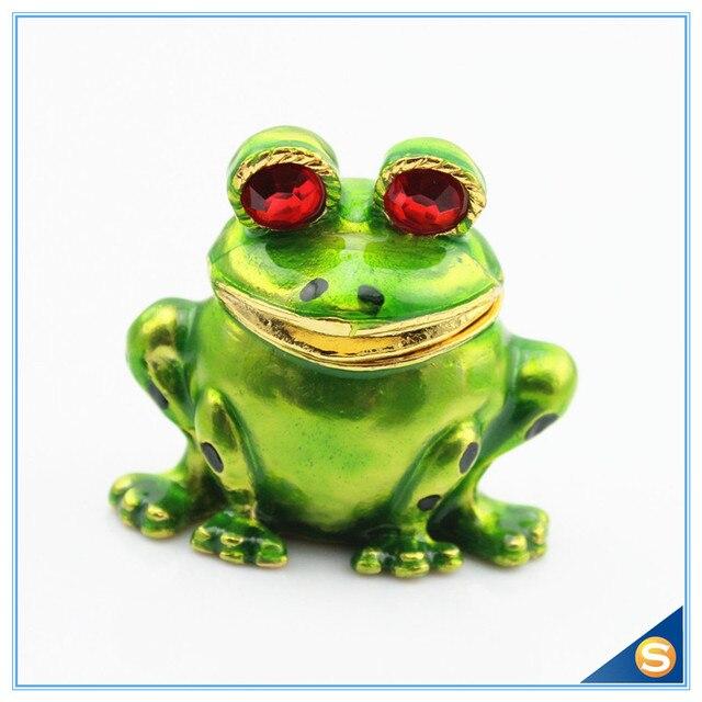 Free Shipping Cute Animal Frog Trinket Box Enamel Jewelry Boxin