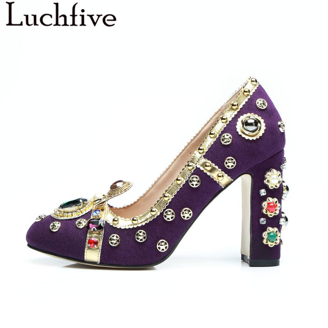 Purple Women Pumps Rivets Studded kid suede Chunky High Heels crystal Shoes  pearled Jewellery Wedding Shoes for ladies c8b0b286d236