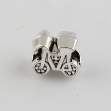 104pcs Tibetan Silver Nice Bicycle Charms Spacer Big Hole Beads Fit European Bracelets 12x11mm 0156