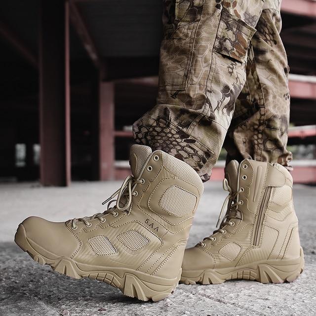 Erkekler askeri taktik botları Kış Deri Özel Kuvvet Çöl Ayak Bileği Savaş Botları Erkek Deri Kar Çizmeler Ordu Ayakkabı Büyük Boyutu