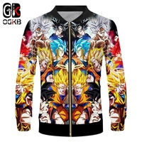 OGKB Dragon Ball Jackets New Fall Winter Men's Funny Print Son Goku 3d Zip Jacket Anime Coats Man Hipop Streetwear Cosplay 6xl