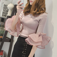 2017 Spring Fashion Flare Sleeve Off The Shoulder Stretchy Knitted T Shirts Women Sexy Off Shoulder
