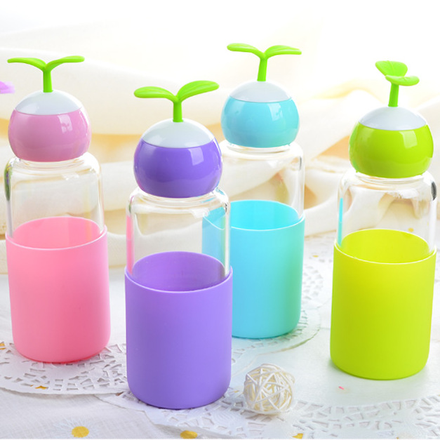Creative Grass water Bottle,Beverage Milky Tea Fruit Juice Drink Bottle With Lid Terrarium for Home Shop Tea Christmas gifts