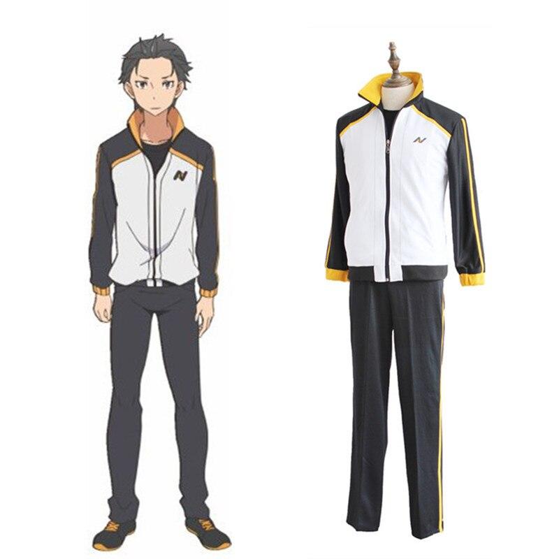 Re: Zero Kara Hajimeru Isekai Seikatsu Subaru Natsuki Cosplay Costume Japanese Anime School Uniform Sport Suit Sportswear