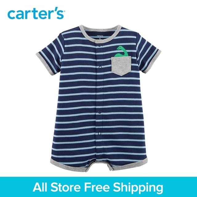95c25d2a302 1pcs sweet Striped Dinosaur pocket Snap-Up Cotton Romper Carter s baby Boy  Summer jumpsuits clothing 118H902