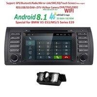 2din автомобильный радиоприемник dvd проигрыватель с gps android 8,1 1024*600 Quad core Для BMW E39 E53 M5 (1996 2007) с Bluetooth Phonelink BT 1080 P DAB + Карты