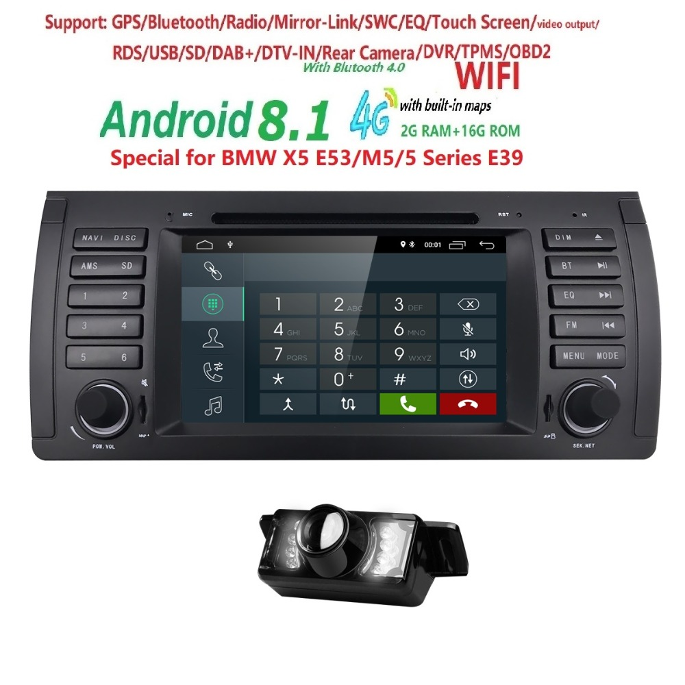 2din car radio dvd gps android 8.1 1024*600 Quad core For BMW E39 E53 M5(1996-2007) with Bluetooth Phonelink BT 1080P DAB+ Maps