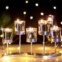 Metal Transparent Glass Candlestick Holder Wedding Table Decor DC120