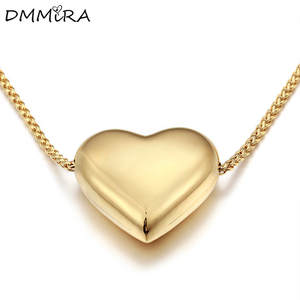 Jewelry Necklace Pendants Rose-Gold Stainless-Steel Silver Heart Hot-Sale Women Simple
