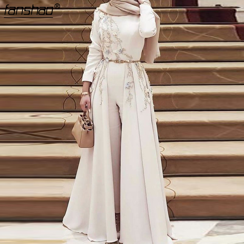 2019 Muslim Evening Dress Long Sleeves Satin Pantsuit Lace Beads Detachable Hijab Illusion Islamic Dubai Saudi Arabic Prom Dress(China)