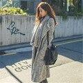 2016 nueva moda wa cscarf y ropa de invierno traje suéter elegante cuello largo cardigan knited suéter modelos femeninos abrigo grueso