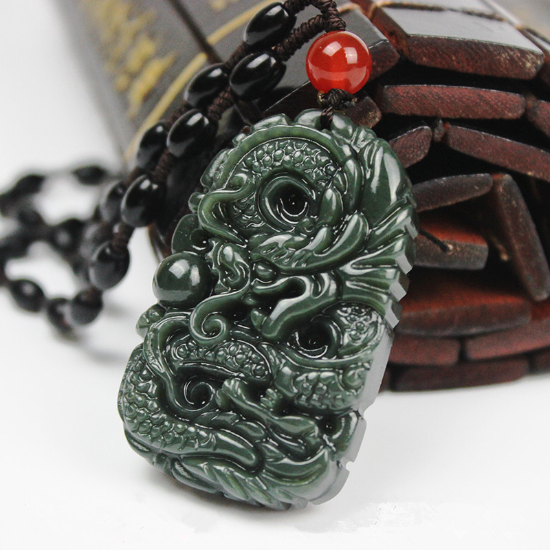 New Green Hetian Stone Pendant 3D Carved Chinese Dragon Pendants With Beads Necklace Women Men's Amulet Nephrite Jades Jewelry