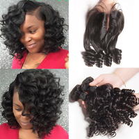 SAY ME 3 Bundle deals Bouncy Curly Human   Hair     Weave   Bundles   With     Closure   Funmi Peruvian   Hair   Bundles   with     closure   Non Remy 1B
