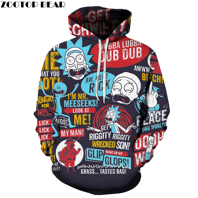 Funny Hoodies Men Women Sweatshirts 3D Hoodie Rick And Morty Pullover Streetwear Hoody Anime Tracksuits Drop Ship ZOOTOP BEAR