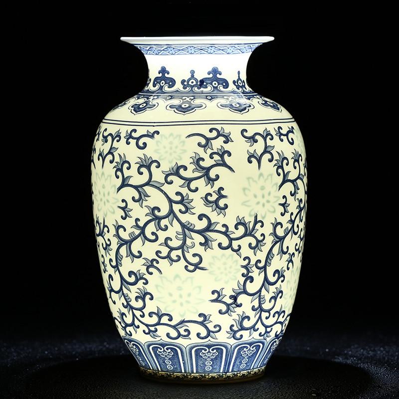 Jingdezhen Rice Pattern Porcelain Chinese Vase Antique Blue And