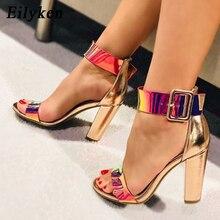 Eilyken Fashion damskie sandały z klamrami ze skóry lakierowanej na letnie buty na wysokim obcasie buty z odkrytymi palcami damskie masywne obcasy 10.5CM buty