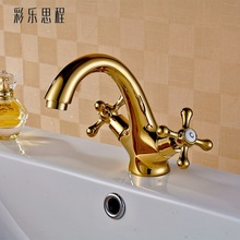 цена на Color Enthone whole antique copper faucet cold and hot water basin faucet double rotating leading European Renaissance