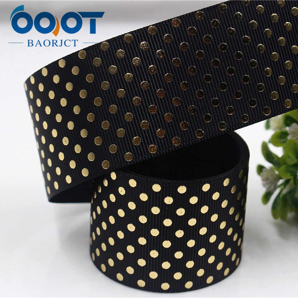 OOOT BAORJCT 171052,38 мм Горячая Золотая лента с принтом в горошек, аксессуары для одежды, аксессуары для волос, подарочная упаковка ручной работы
