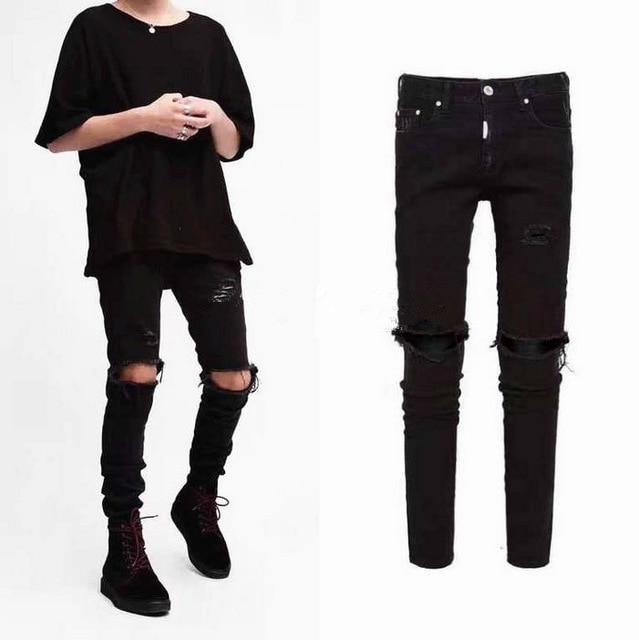 Knee Ripped Men Jeans Urban Clothing Punk Korean Blue Black Designer Distressed Stretch Skinny Ripped Jeans M-XXL