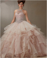 2016 New Arrival Bare Pink Ball Gown Organza Ruffled Beading Quinceanera Dresses Pageant 15 Years Dress