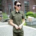 Camisa Exército Mulheres 2017 Nova Moda de verão 100% Camisas de Algodão de Manga Curta Verde Do Exército Estilo Militar Frete Grátis