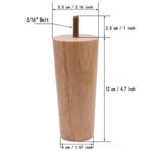 """Image 3 - 4.7 """"meubles en bois massif canapé jambes ensemble M8 boulon chêne conique remplacement canapé banc chaise Table basse armoire jambe ensemble de 4"""