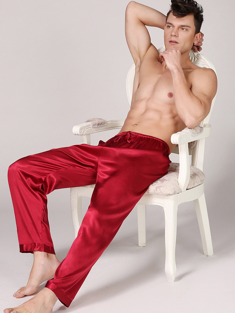 Lounge Men's Satin Silk Pajamas Long Summer Sleepwear Pants Soft Underwear Sexy Nightwear Underpants pyjama homme