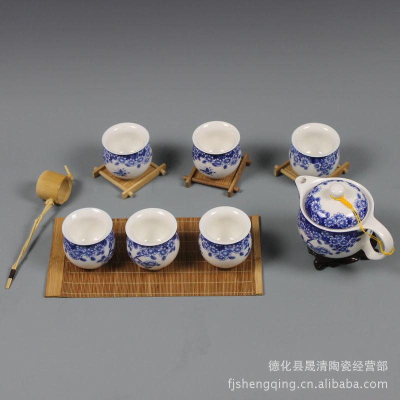 Blue and white porcelain tea set ceramic kung fu tea large pot of Pu'er Tea Butterfly Tea Jingdezhen