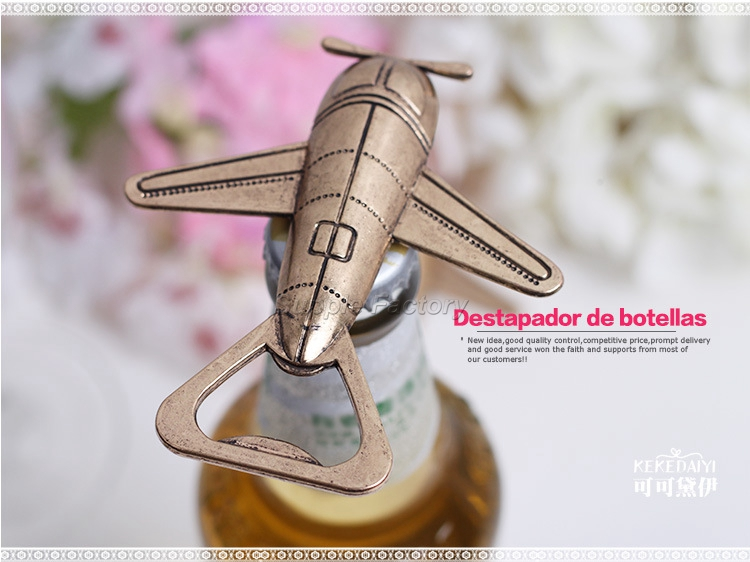 Image 5 - 50pcs/lot Free Shipping Antique Air Plane Airplane Shape Wine Beer Bottle Opener Metal Openers For Wedding Party Gift Favors-in Openers from Home & Garden