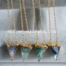 eb7a09a6d94e WT-N630 Amazing Rainbow fluorita collar joyería natural fluorita Arco Iris  triángulo piedra con 24 K Ajuste del oro collares de .