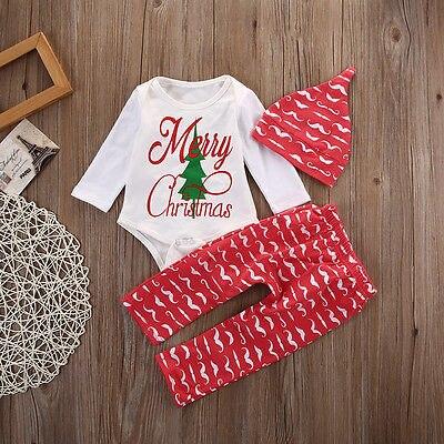 2016 Automne De Noël Infantile Bébé Garçon Fille Tenues Vêtements  Barboteuse Top + Pantalon Leggings Chapeau 3 PCS Ensemble 132d51bf62f