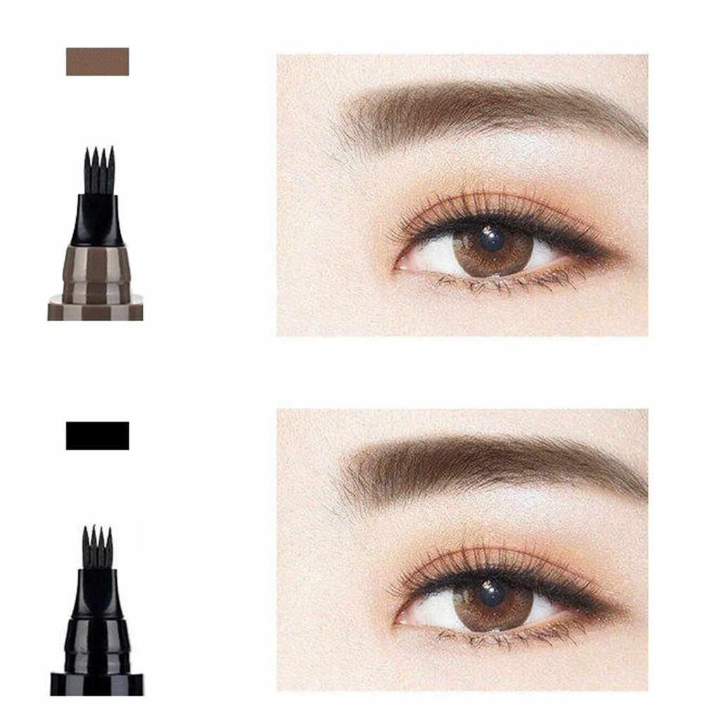 1 adet su geçirmez doğal kaş kalemi dört pençe göz kaş tonu makyaj 5 renk kaş kalemi kahverengi siyah gri fırça kozmetik # h