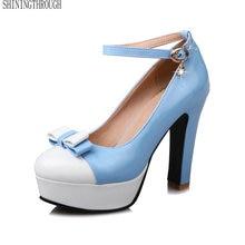 Sexy Novas Mulheres de Salto Alto PU Mulheres Bombas Primavera Plataforma Feminina de Couro Grosso com sapatos de Verão Rodada Sapatos Único