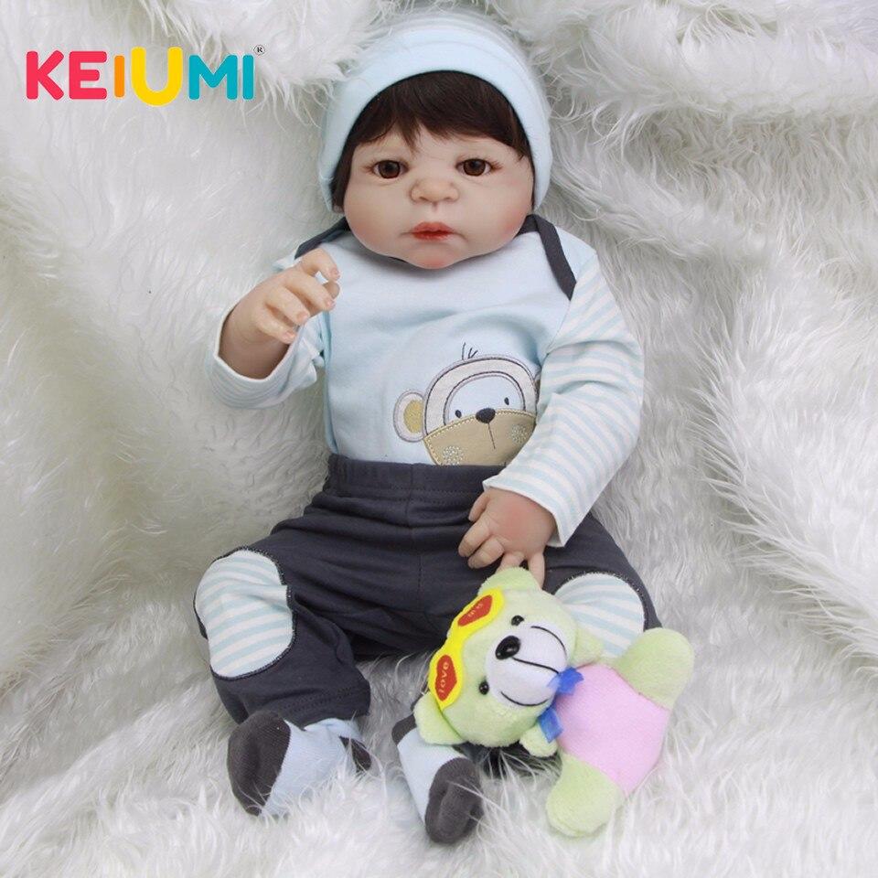 키미 도매 57 cm 실생활의 다시 태어난 아기 menino 전체 실리콘 바디 비닐 reborn 아기 인형 장난감 아이를위한 생일 선물-에서인형부터 완구 & 취미 의  그룹 1