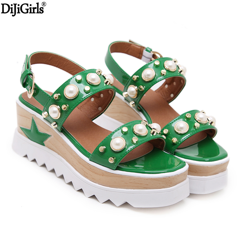Women Gladiator Sandals Summer White Platform Wedges Shoes Leisure Peep Toe Shallow Mouth Wedges Shoes 7cm Pearl Sandal phyanic 2017 gladiator sandals gold silver shoes woman summer platform wedges glitters creepers casual women shoes phy3323