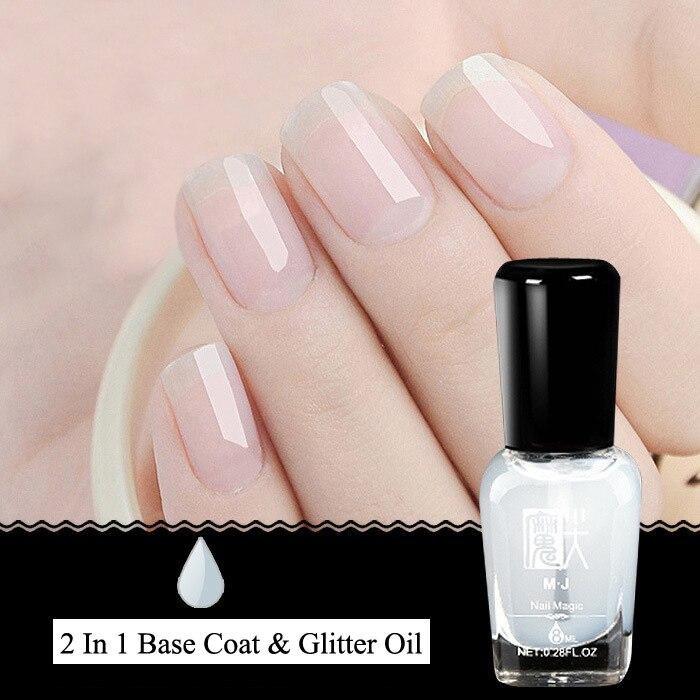 Base Coat Nail Polish: 8ml 1 Bottle Glitter Base Coat Top Coat Transparent Nail