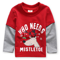 LM Brand Kids T-shirts Red Color Matching Cotton Long Sleeve T Shirt For Boy Casual Fashion Retail Christmas Gift for Kid