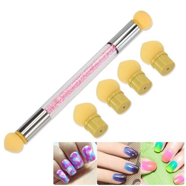 1pc Glitter Powder Picking Dotting Gradient Pen Brush + 6 Sponge ...
