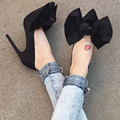 Spring sweet Lady Pumps high heels 10cm 7cm 5cm shallow mouth butterfly knot decor concise party Shoes Women Chaussure Femme