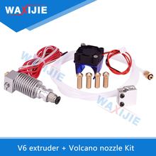 WAXIJIE V6 J-head Remote Bowden Extruder With Fan Volcano Block Long Nozzle Hotend 12V40W 1.75mm Filament 3D Printer Parts