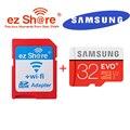 100% оригинал ЭЗ поделиться ezshare Беспроводной wi-fi адаптер + Samsung EVO plus 32 gb class10 80 MB/s карта micro sd wi-fi беспроводной TF Карты