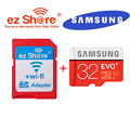 100% original EZ share ezshare Wireless wifi adapter+Samsung EVO plus 32gb class10 80MB/s micro sd card wifi wireless TF Card