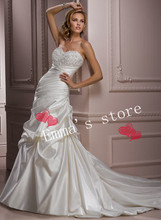 MORI-2013 Custom Made Free Shipping Fashion Off 5% A-Line Sweetheart Ruched Bodice Floor Length Applique Bridal Wedding Gown Dre